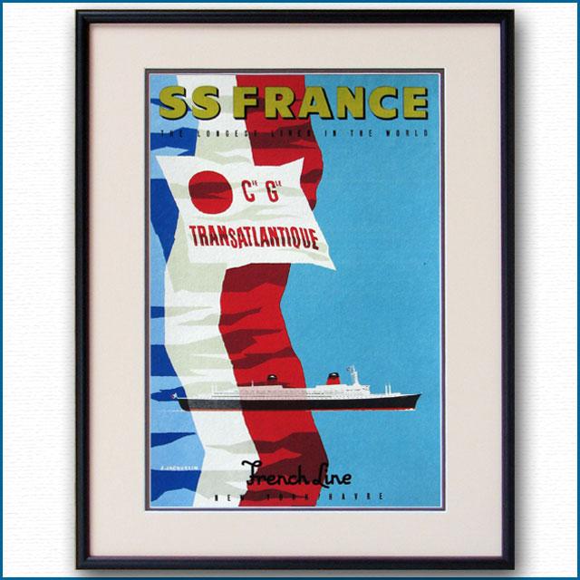 1961年 ジョン・ジャックラン 客船フランスのポスター 2025LL