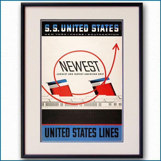 1952年 レスター・トーマス・ビール 客船ユナイテッドステーツのポスター 2030LL