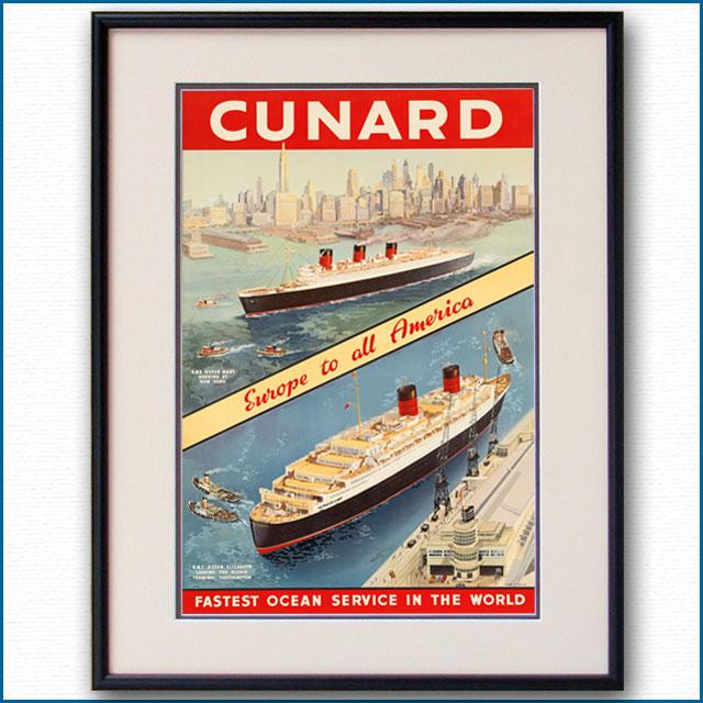 1950年 キュナード 客船クイーンエリザベス クイーンメリーのポスター 2035LL