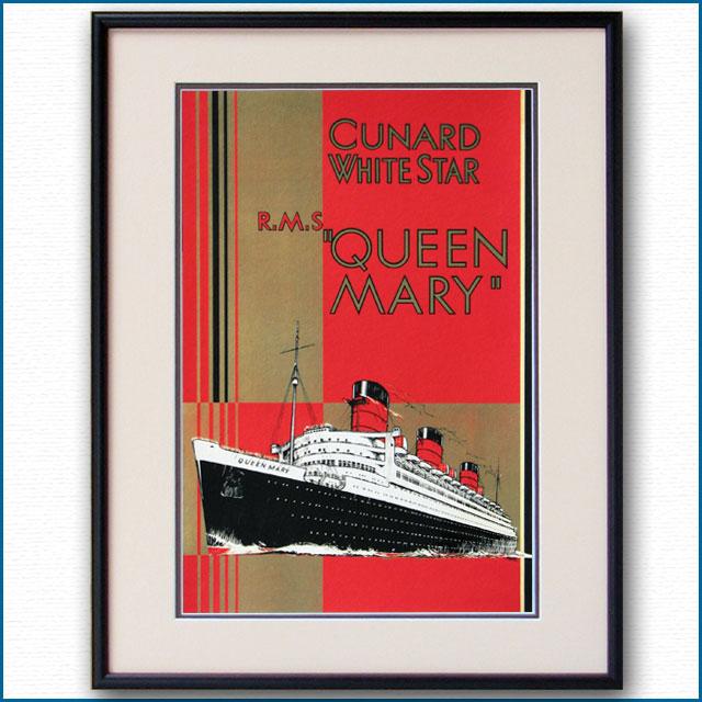 1936年 キュナード 客船クイーンメリーのポスター 2043LL