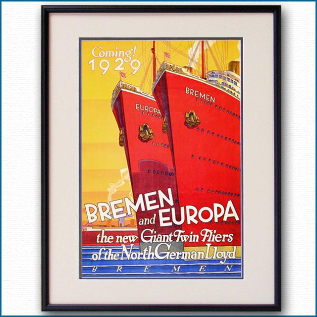 1929年 客船ブレーメン オイローパのポスター 2081LL