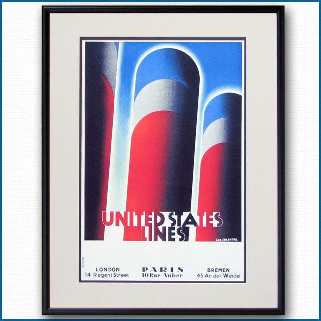 1928年 カッサンドル ユナイテッドステーツラインズのポスター 2393LL