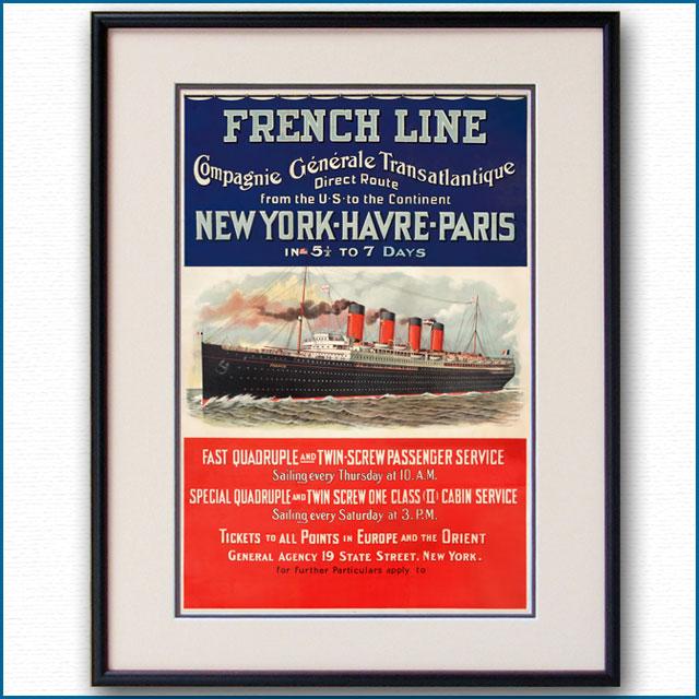 1910年 フレンチライン 客船フランスのポスター 2400LL