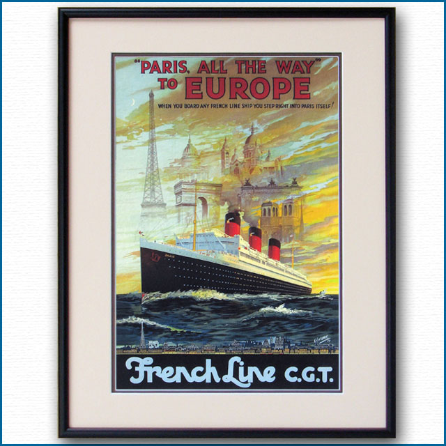 1921年 フレンチライン 客船パリのポスター 2406LL