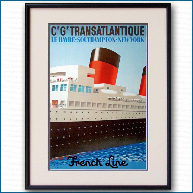 1949年 ポール・コラン 客船イル・ド・フランスのポスター 2412LL