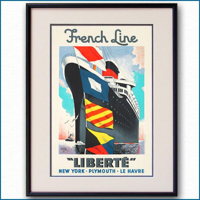 1950年 エドゥアール・コラン 客船リベルテのポスター 2415LL