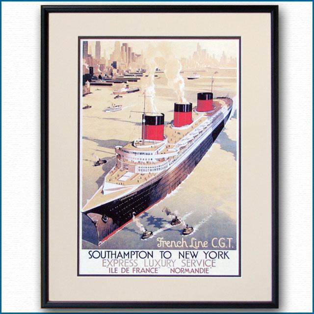1936年 リギーニ 客船ノルマンディーのポスター 2462LL