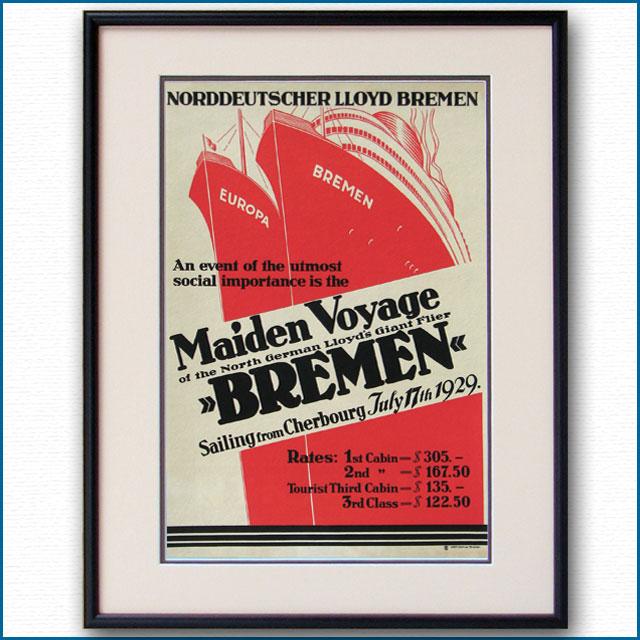 1929年 北ドイツロイド 客船ブレーメンのポスター 2600LL