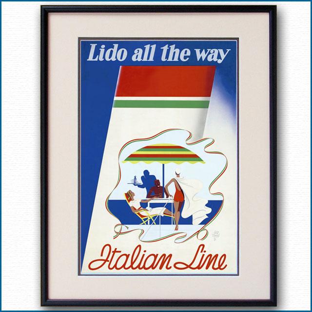 1936年 パオロ・フェデリコ・ギャレット イタリアンラインのポスター 2823LL
