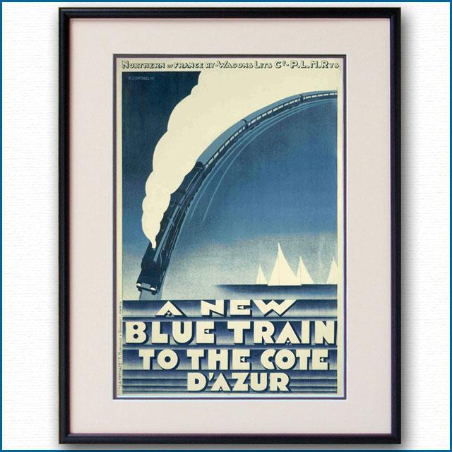 1928年 ピエール・ゼノーベル 青列車ル・トラン・ブルーのポスター 2972LL
