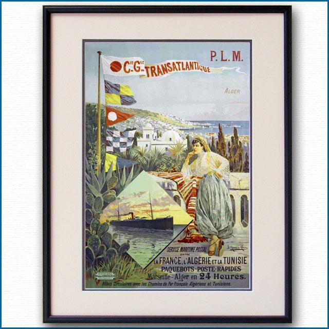 1895年 CGTフレンチラインのポスター PLM鉄道 2983LL