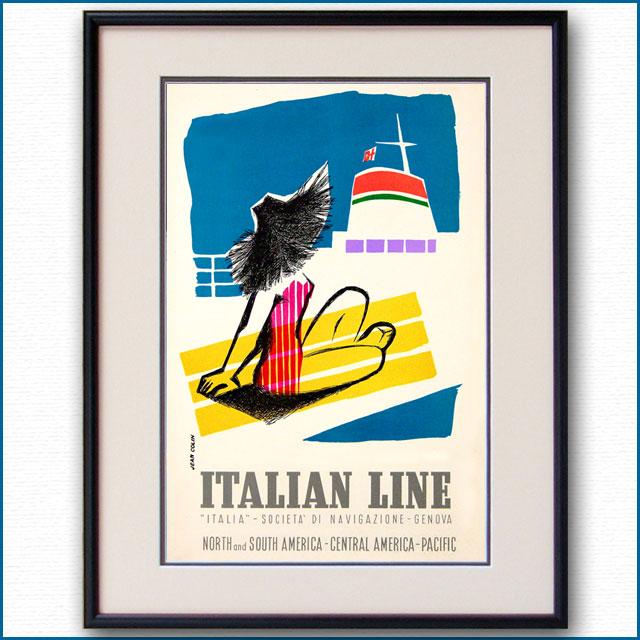 1954年 ジャン・コラン イタリアンラインのポスター 2999LL