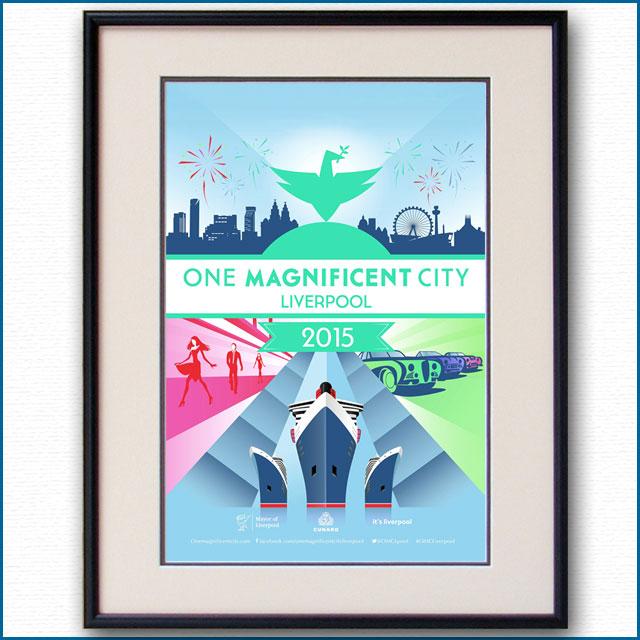 2015年 リバプール キュナード・クイーンのポスター 3004LL