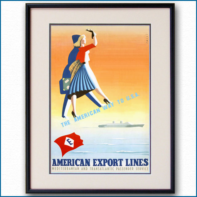 1955年 アルダ・サッシ アメリカン・エクスポート・ラインのポスター 3035LL
