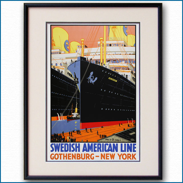 1928年 ハリー・ハドソン・ロッドメル 客船クングスホルムのポスター 3055LL