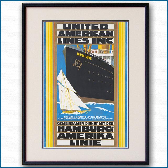 1922年 ハンブルク・アメリカライン 客船レゾリュートのポスター 3074LL