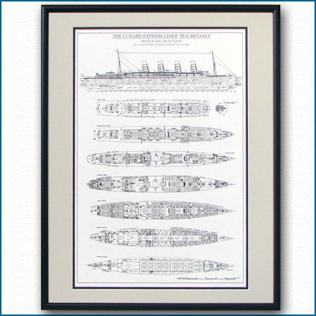 客船モーレタニアの一般配置図、額入りアートポスター 2479XL