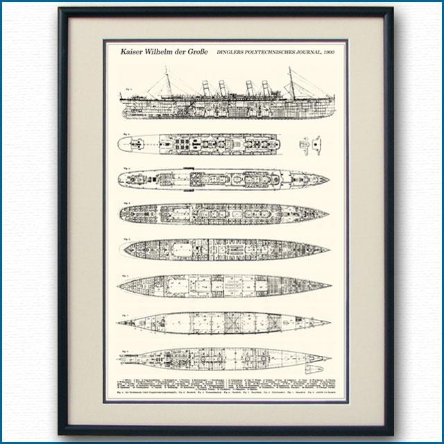客船カイザー・ウィルヘルム・デア・グロッセの一般配置図、額入りアートポスター 2694XL