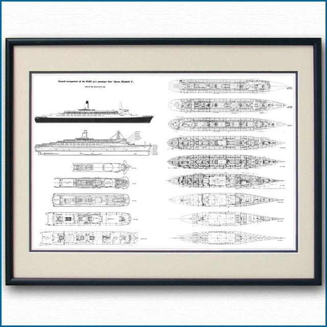 客船クイーンエリザベス2の一般配置図、額入りアートポスター 2705XL