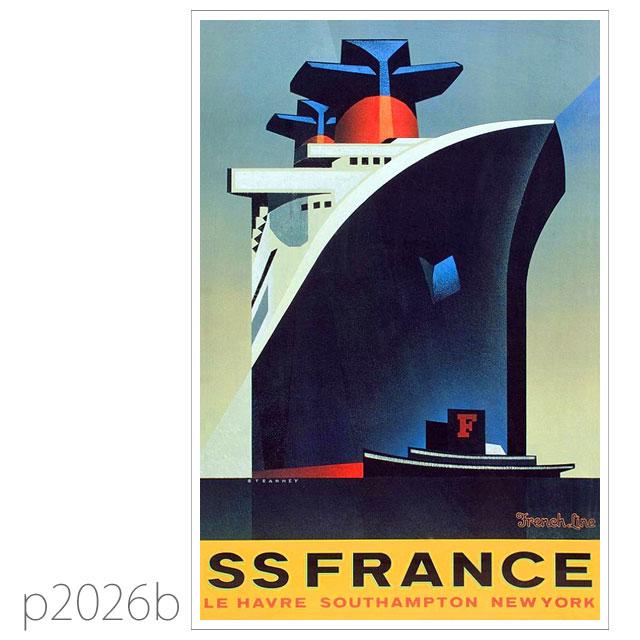 フレンチライン・客船フランスのポスター1979 ポストカード