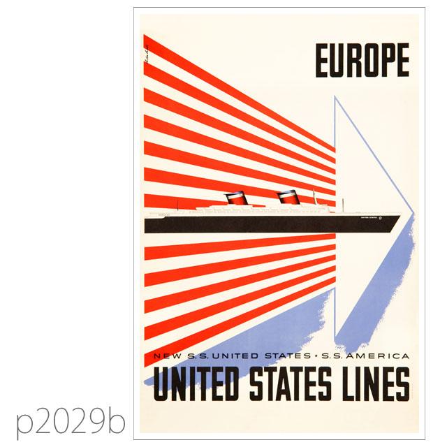ユナイテッドステーツライン・客船ユナイテッドステーツのポスター ポストカード