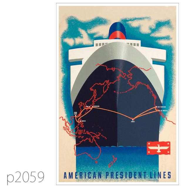 APL・客船プレジデント・クリーブランドのポスター ポストカード