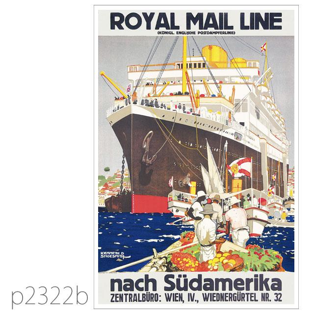 ロイヤルメールライン・客船アストリアス、アルカンターラのポスター ポストカード