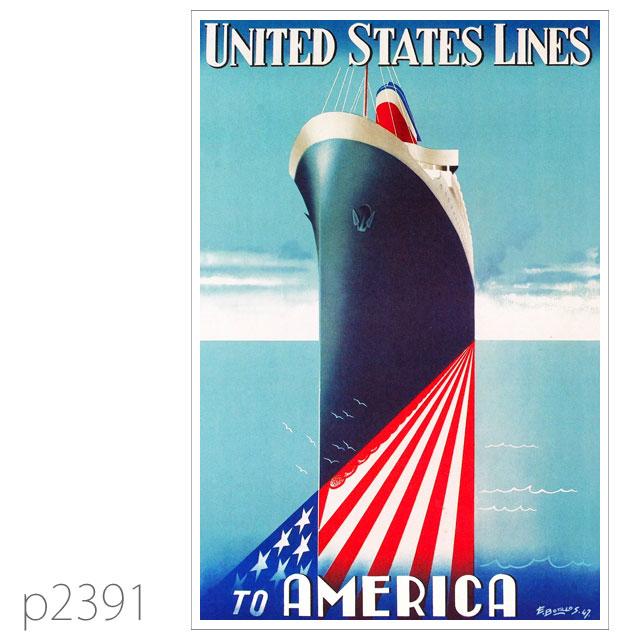 ユナイテッドステーツライン・客船アメリカのポスター ポストカード