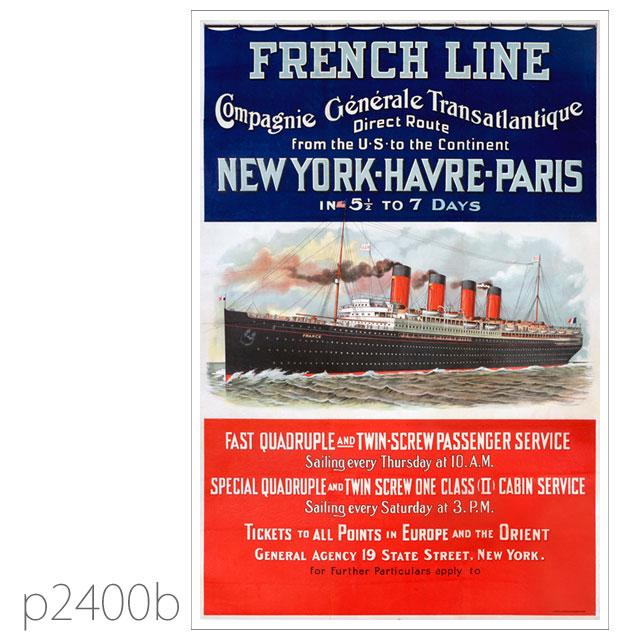 フレンチライン・客船フランス(1912)のポスター ポストカード