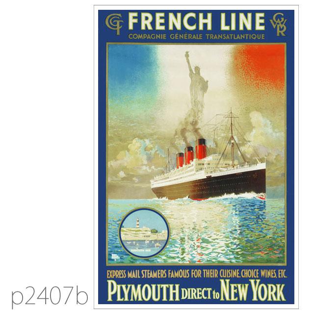 フレンチライン・客船パリのポスター ポストカード