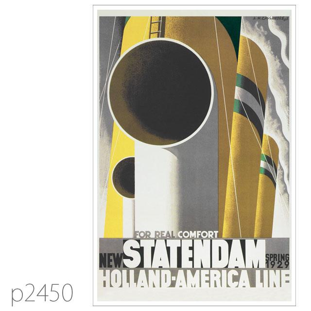 ホ−ランドアメリカライン・客船スタテンダムのポスター ポストカード