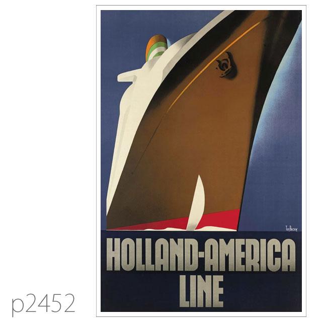 ホ−ランドアメリカライン・客船ニューアムステルダムのポスター ポストカード