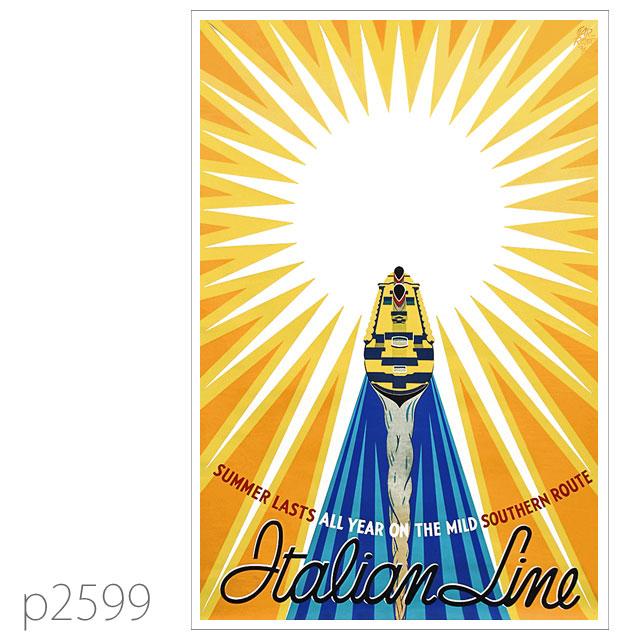 イタリアンライン・客船レックスのポスター ポストカード