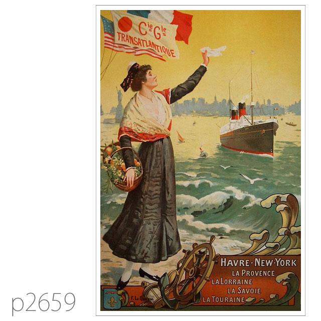 フレンチライン・客船プロヴァンスのポスター ポストカード