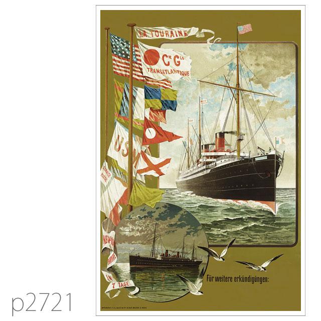 フレンチライン・客船トゥレーヌのポスター ポストカード
