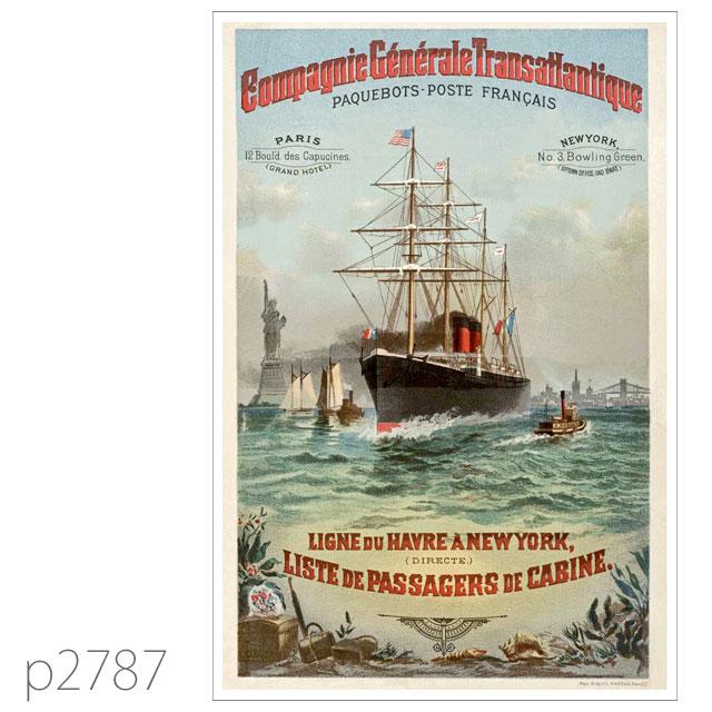 フレンチライン・ブルゴーニュ級客船のポスター ポストカード