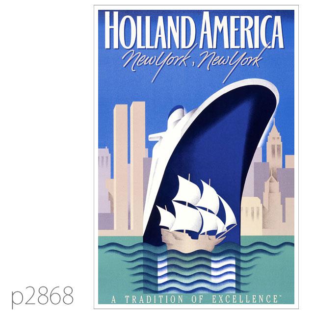 ホ−ランドアメリカライン・客船ロッテルダム(1959)のポスター ポストカード