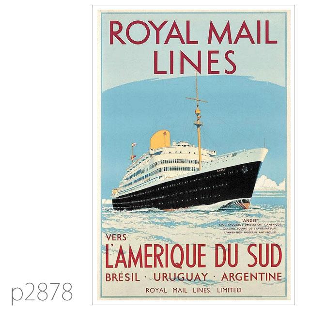 ロイヤルメールライン・客船アンデスのポスター ポストカード