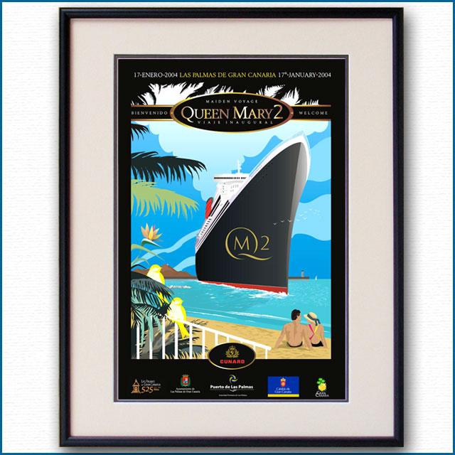 2004年 客船クイーンメリー2 処女航海のポスター 2004LL