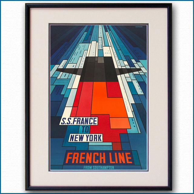 1968年 ジョン・べインブリッジ 客船フランスのポスター 2027LL
