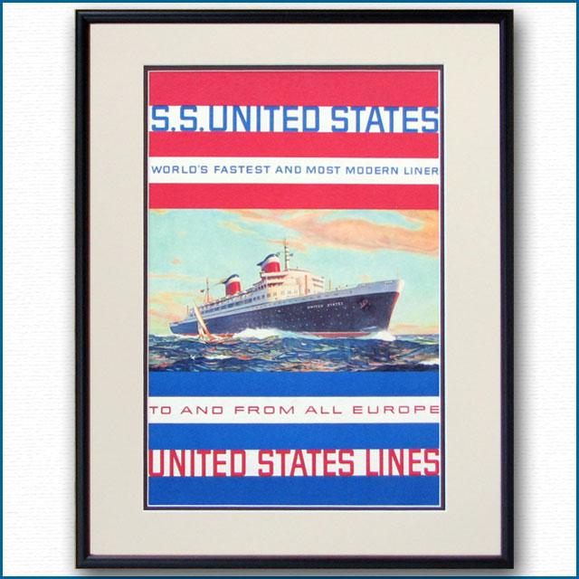 1958年 USL 客船ユナイテッドステーツのポスター 2032LL