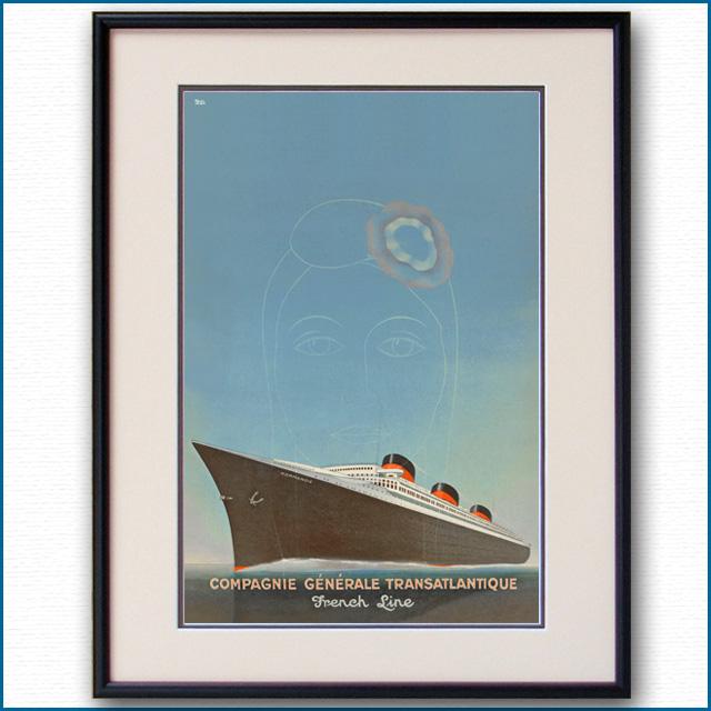 1935年 ポール・イリーブ 客船ノルマンディー・ブローシャーカバー 2069LL
