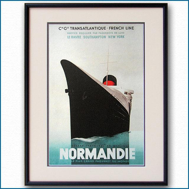 1935年 J・オヴィニュ 客船ノルマンディーのポスター 2071LL