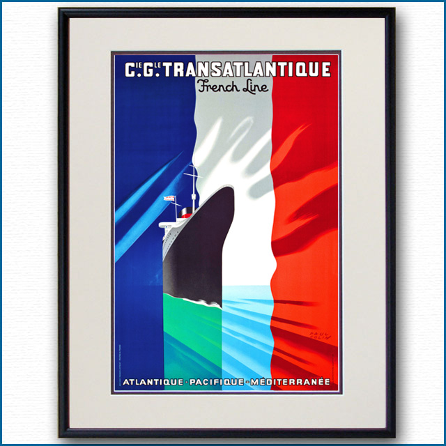 1937年 ポール・コラン 客船ノルマンディーのポスター 2075LL