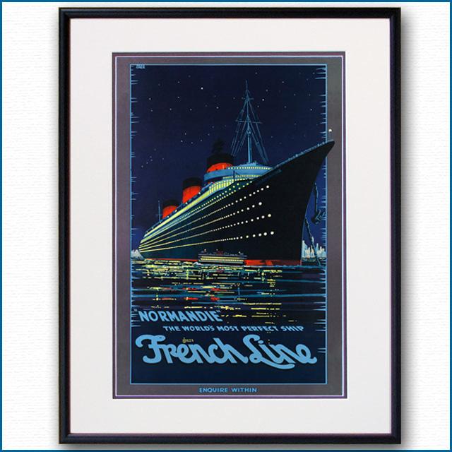 1939年 ヘルコマー 客船ノルマンディーのポスターのポスター 2076LL