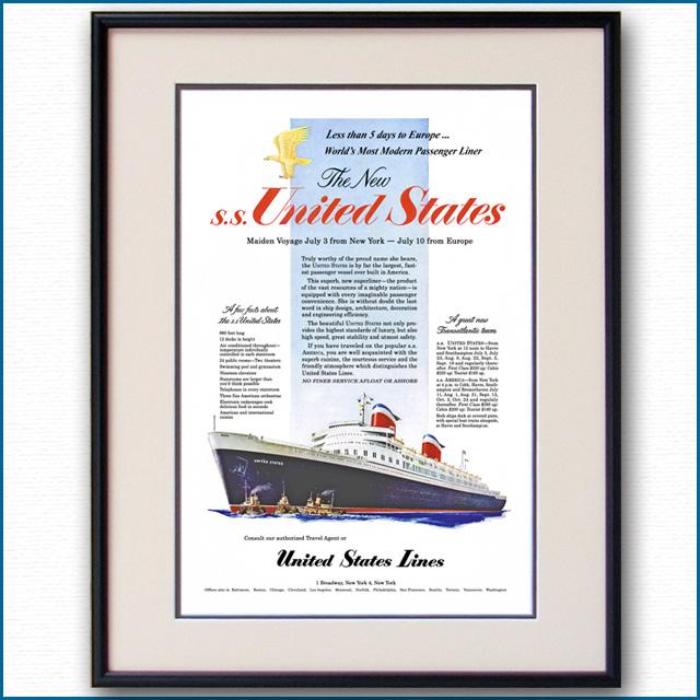 1952年 客船ユナイテッドステーツ・処女航海雑誌広告 2098LL
