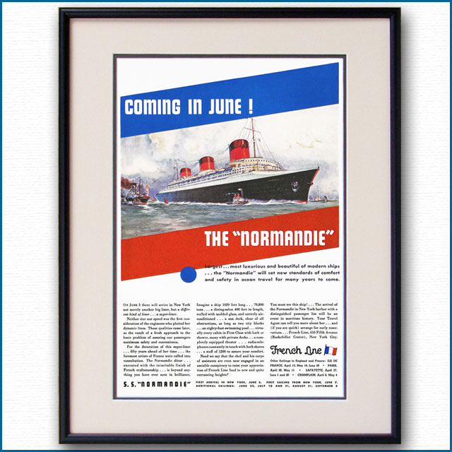 1935年 客船ノルマンディー・就航雑誌広告 2108LL