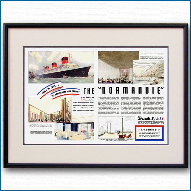 1935年 客船ノルマンディー・就航見開き雑誌広告 2109LL
