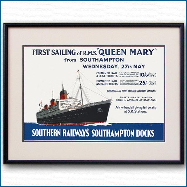 1936年 レスリー・カー 客船クイーンメリーのポスター 2131LL