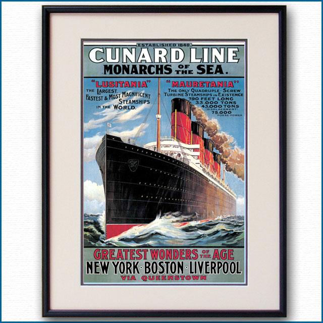 1907年 キュナード 客船ルシタニア・モーレタニアのポスター 2281LL